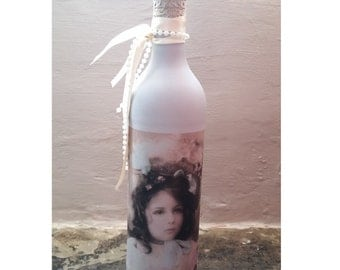 Decorative bottle, Shabby chic décor, Vintage Décor, Wedding Gift, Wedding Décor, Handmade Décor, Teal, Recycled bottle, decoupage bottle,