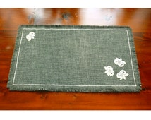 TABLE CENTRE PIECE Olive Green with Floral Design and Fringe Decoration