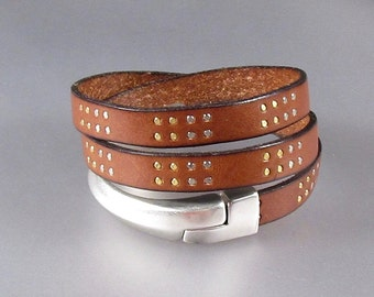 10mm Studded Leather Wrap Bracelet