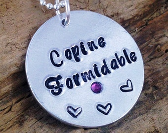 Hand Stamped Copine Formidable French Friend Message Pendant Necklace