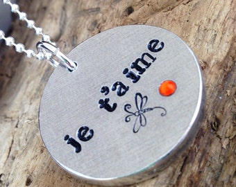 Hand Stamped Chunky Je T'Aime Personalised French Love Message Pendant Necklace