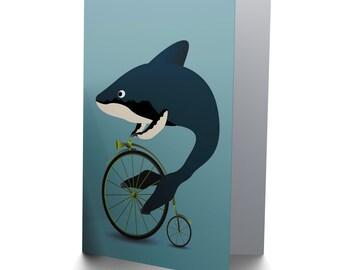 Shark On Bike Etsy