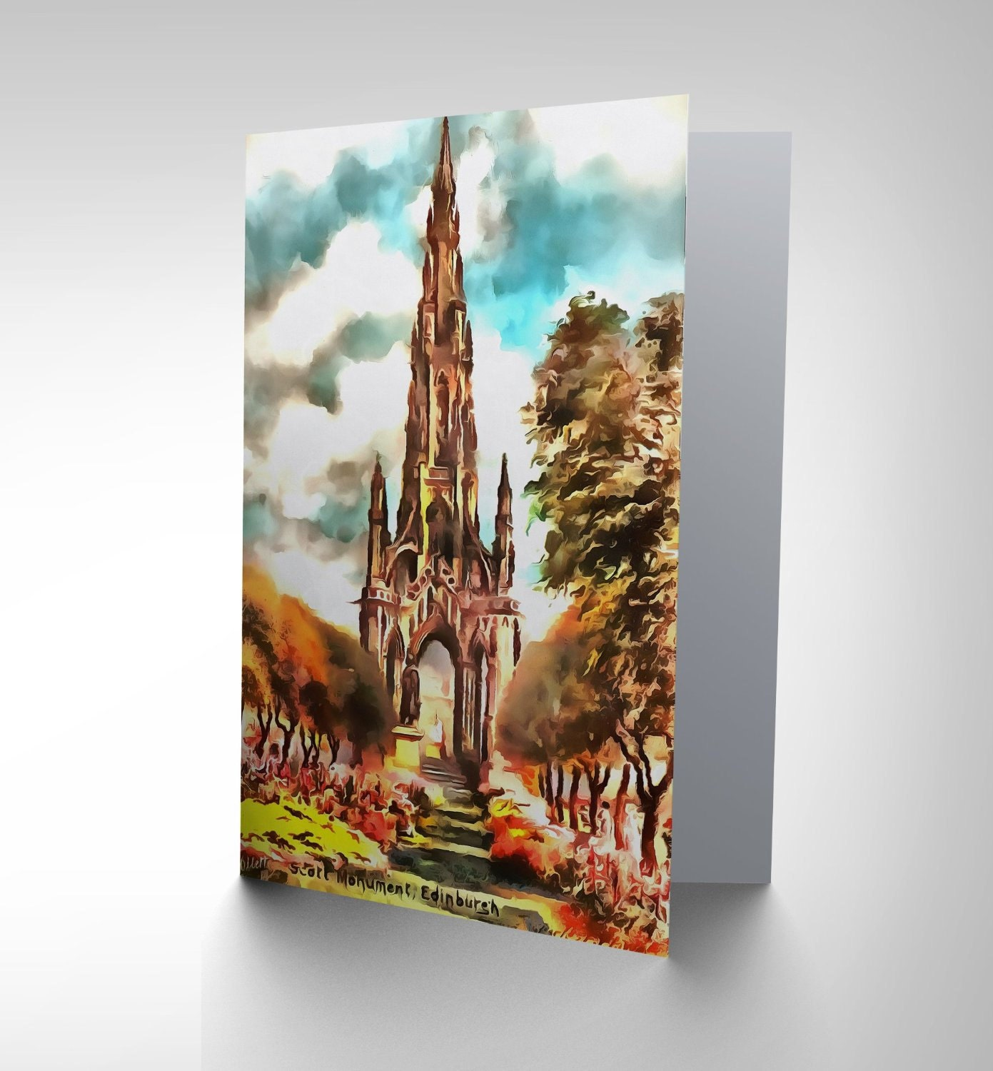 Edinburgh Card Scott Monument City View Birthday Blank