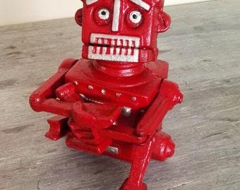Mechanical cast iron piggy bank - Red Robot