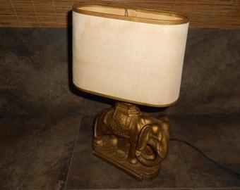 Beautiful Vintage Chalkware Elephant Lamp