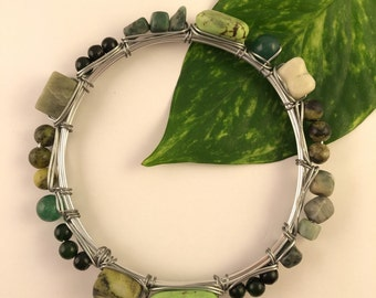 Mixed Green Gemstone Bangle Bracelet