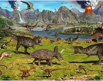Dinosaur Volcanoes Murals Poster Prehistoric Kids Favorite Colorful 24x36