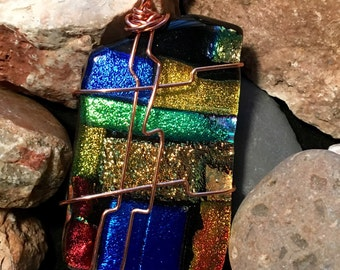 Dichroic Rainbow Glass Pendant