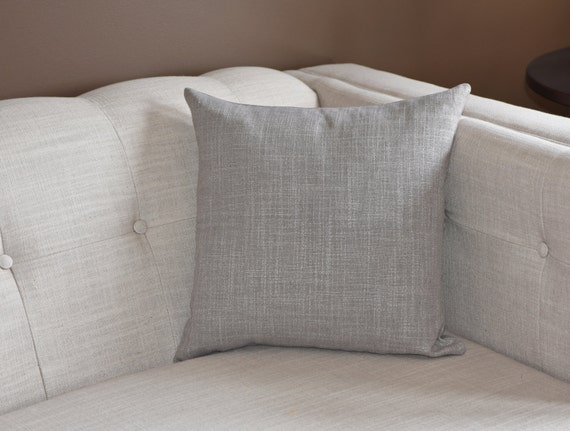 Grey Linen Throw Pillow : Decorative Pillow Cover Grey Gray Linen Elegant