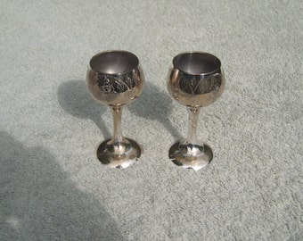 Mini Wine Goblets - Silver Plated/EPNS - Beautiful Etched Design - Distressed/Worn/Shabby Chic - Vintage Silverplate