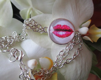Bracelet silver cabochon red mouth