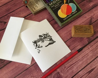 FOOTBALL - Five Letterpress A2 folded cards and envelopes -  Crane's LETTRA