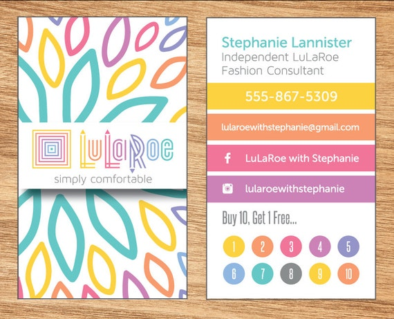 Floral lularoe business cards by elevencreative on etsy for Etsy lularoe business cards