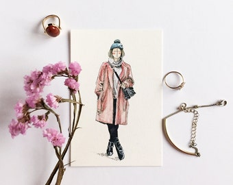 Pink Autumn; Fashion Illustration; Art Print