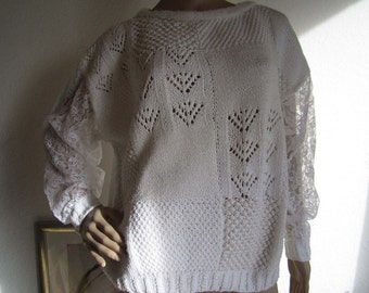 Vintage 80s Undershirts Ajour hand knitted with lace oversize