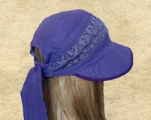 Summer hats visor, Sun visor hat cotton, Linen womens hats, Sunhats women, Violet linen sun hat, Summer sun hats, Rustic hats summer