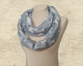 Dog print scarves, Infinity scarf lady, Light gray scarf, Womens fabric scarf, Wide circle scarf, Women's loop scarf, Fabric scarf circle