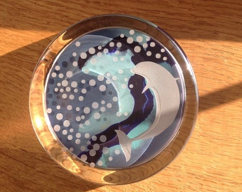 Dolphin Blue Etched  Glass Paperweight