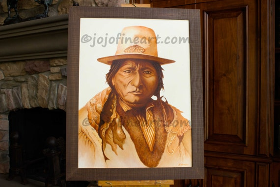 native american indian sitting bull art painting. Black Bedroom Furniture Sets. Home Design Ideas