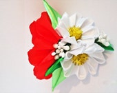 bow clip baby girl poppy flower flowers flower clip wedding clip hair clips women big flower hair flowers flower hair piece wedding hair