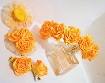 yellow rose hair set, yellow rose hair accessories, handmade hair accessories set, hair hoop styles, wedding crowns for women