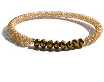 Gold wire crochet bangle bracelet with gold crystal beads, bead bracelet, stacking bracelet
