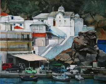 Acrylic Painting, Original Painting, Seascape, Port, Island, Landscape, Art, Contemporary Painting, Skopelos Port