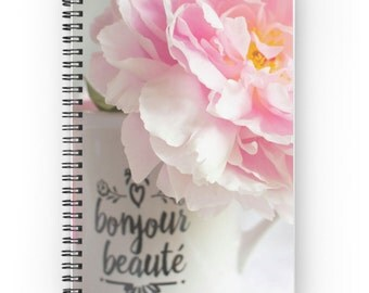 Pink Peony Spiral Notebook ~ Feminine Gift for Her ~ Shabby Chic Notebook, Garden Journal, Flower Photo, French Country Notepad, Floral Gift