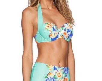 Florida ~ Blue & Green Floral Padded High Waisted Bikini Set