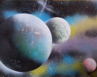 Planets-painting spray paint cans paint