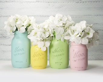 4- Hand Painted Mason Jars Flower Vases- Mimi Collection Two-Country Decor-Cottage Chic-Shabby Chic-French Chic