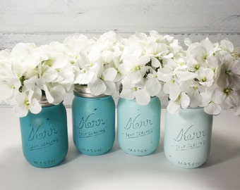 4- Hand Painted Mason Jars Flower Vases- Shades Of Teal Collection-Country Decor-Cottage Chic-Shabby Chic-French Chic