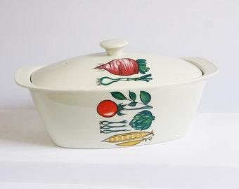 Villeroy and boch casseroledish, vegetables print, 1960's