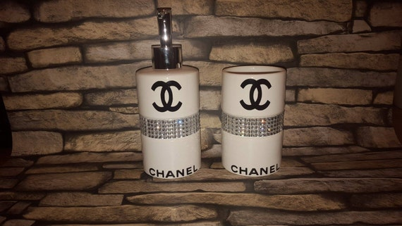 Chanel Inspired Bathroom Accessory Set Diamonds By Icandygifts