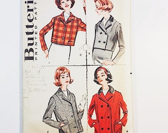 50s Jacket Pattern   Butterick 9112 Misses Cropped Jacket Pattern   50s Jacket Pattern