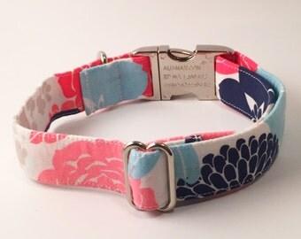 Pink and Blue Floral Adjustable Dog Collar