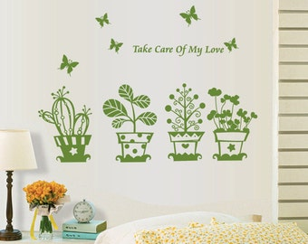 Green Plants Wall Decal, Cactus Wall Decal, Wall Art, Home decor