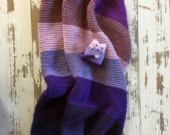 Sweet Soft Hand Knit Baby Blanket Lavenders Purple Mauves