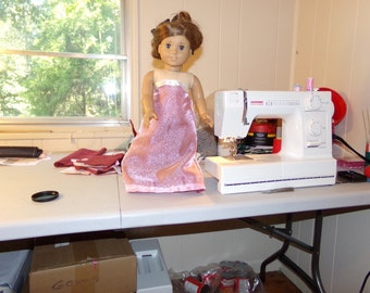 Red with pink toole strapless gown