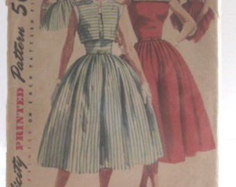 Vintage Simplicity Sewing Pattern 1611 Misses Dress & Jacket Size 12 Bust 30 Waist 24 Hip 33 Complete Instruction  Sheet, Copyright 1956