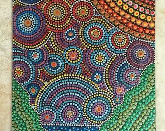 Sold!  Rays of Light (8x10 inches) - dot art - mandala