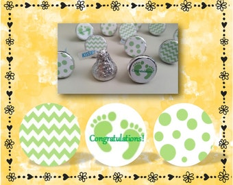 216 Congratulations Green Hershey Kiss Labels - Baby Shower Favors - Chevron - Polka Dots - Green - Favor Labels - FREE SHIPPING