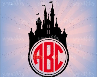 SVG Disney Castle Monogram - Princess Castle Svg Monogram Frame Cut Files  - Cricut, Silhouette Studio cutting file, Instant Download