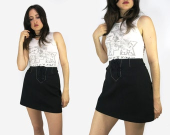 Vintage 90s Lace Up A-Line Skirt Size 31 W
