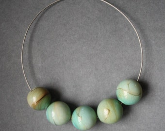Blown Glass Necklace - Green Ivory & Turquoise Color - Lightweight