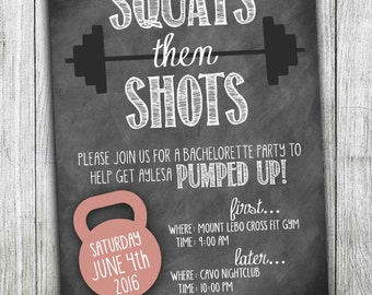 Squats then Shots - Crossfit - Custom Bachelorette Party - Fitness Wedding Shower - Crossfit Bachelorette - Fitness Bachelorette Party