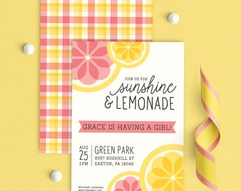 Pink Lemonade Party Invitations, Lemonade Party Invitations, Lemonade Invitation, Pink Lemonade Stand Invitation, Pink lemonade baby shower