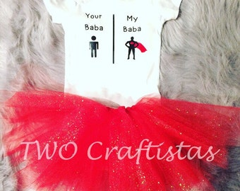 Your Dad My Dad Tutu Outfit Set with matching headband. Father's Day gift, muslim gift, tutu outfit, islamic baby gift, newborn muslim baby