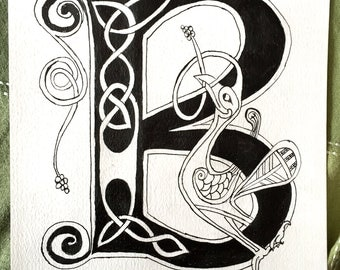 Celtic Decorated Letter, Made to Order, Zoomorphic Illumination in style of Book of Kells Medieval Manuscript, 9x12in
