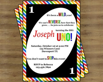 UNO Birthday Invitations; UNO Invitations; First Birthday Invitation for One Year Old; Rainbow Birthday Invitation; Printable Invitation